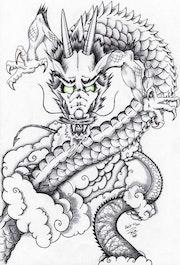 Im japanischen Stil Tattoo Drachen-Design . Alexandre Gromolard Dessine Vos Envies