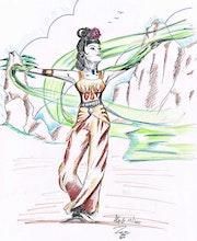 Geisha Tattoo im japanischen Stil Zeichnung . Alexandre Gromolard Dessine Vos Envies