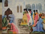 Indianer auf der Treppe . Nicole Bringuier