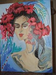Mujer con flores de color rosa . Nicole Bringuier