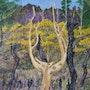 Der goldene Baum in Erinnerung an den großen Brand von Wald gehauen Brocéliande. Fransua