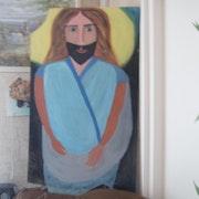 Glasmalerei Plexiglas eines Heiligen ... .