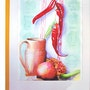 Peppers, Grenada to the pitcher (watercolor) 2002 . Annie Roudet