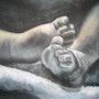 Les pieds de bébé (pastel) 2008. Annie Roudet