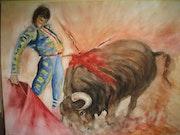Bullfighting (watercolor) 2008 . Annie Roudet