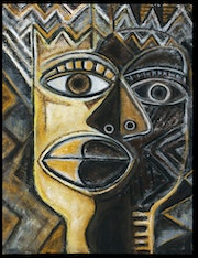 «King&Queen», Painting, Primitive, 30x40x1.5» acrylic on canvas.