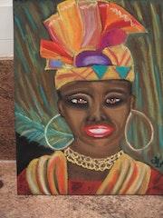 Frau mit Kopfschmuck Karibik.