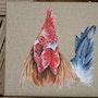 Retrato de gallo . Fannette Brule