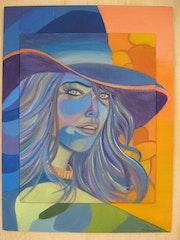 Die Frau im blauen Hut.