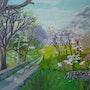 Paisaje, ovejas, montaña, campo. Lisette