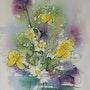 Runder Blumenstrauß in Vase. Jackie Bardy
