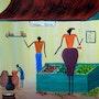 Afrikanische Kunst: Einkauf von Lebensmitteln. Denis Green