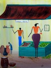 De arte africano: la compra de alimentos.