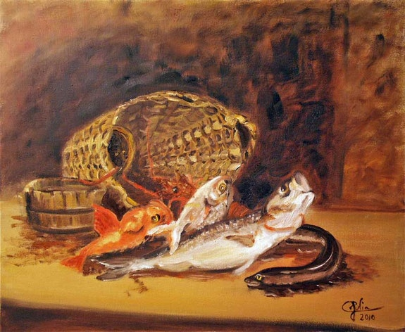 The basket of fish.  Julia. Colletto
