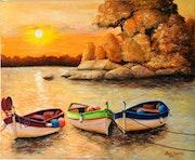 Couché de soleil sur les barque de pêche 1042.