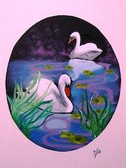 Cisnes en el estanque.