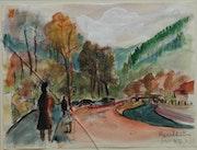 Kentheim - dessin de paysage teinté par Margret Hofheinz-Döring. Hofheinz-Döring Margret