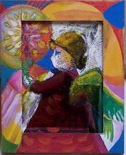 Angel con vela - estructura con un cuadro pintado marco. Hofheinz-Döring Margret