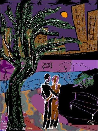 Romantice dans le parc - limitée graphique originale - Jacqueline_Ditt. Jacqueline Ditt Universal Arts Galerie Studio Gmbh