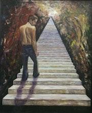 Subiendo escaleras.