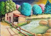 Starling Mill pintado óleo sobre lienzo, tanto Sèvres.