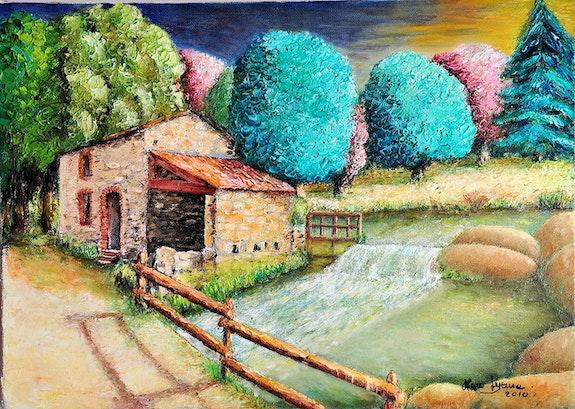 Mill starling painted oil on canvas both sèvres. Marc Lejeune Marc Lejeune