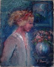 Frau mit Blumen. Original Oil Painting. Frank Burke