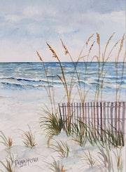 Beach sand dunes watercolor painting. Derek McCrea