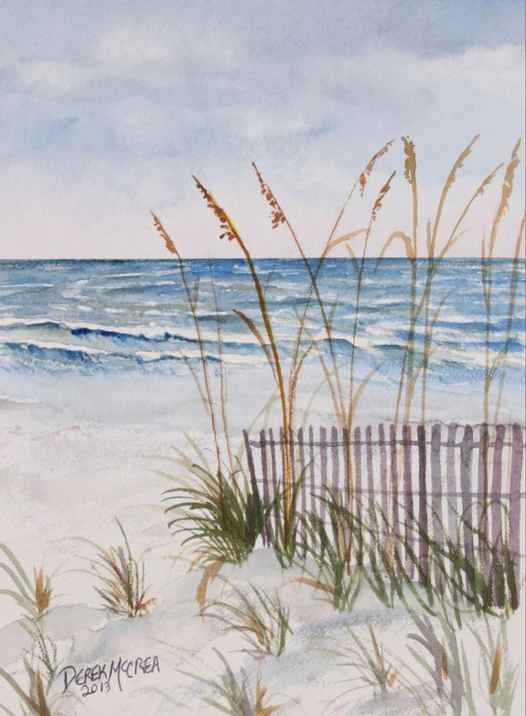 Beach sand dunes watercolor painting. Derek Mccrea Derek McCrea