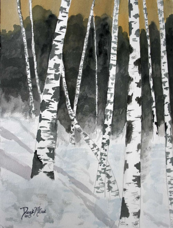 Birch tree landscape painting. Derek Mccrea Derek McCrea