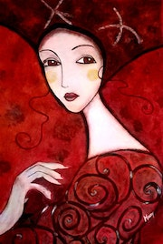Lady in red. Mary