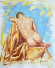 Original oil painting male nude back. Hongtao Huang