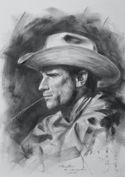 Original charcoal drawing portrait of cowboy. Hongtao Huang