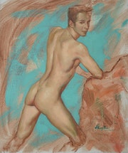 Original oil painting naked man. Hongtao Huang