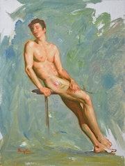 Original oil painting male nude -Rose. Hongtao Huang