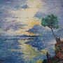 Lever de soleil sur le golfe de Saint Florent en Corse (1995). Quinio