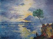 Lever de soleil sur le golfe de Saint Florent en Corse (1995).