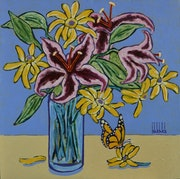 Still life hammarilis with butterfly.