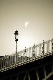 The moon shines bright on charlie chaplin.