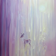 Beautiful - oil painting abstract with deer.