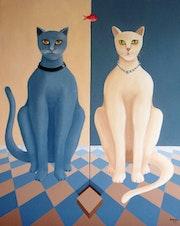 Grey cat - beige cat.