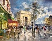 Paris. L' Arc de Triomphe et la Tour Eiffel. Avenue Marceau.