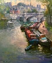 Paris. Les péniches du Pont Neuf.