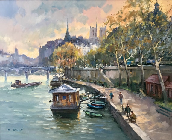 Paris. Couché de soleil sur l île de la citée. Robert Ricart R Ricart