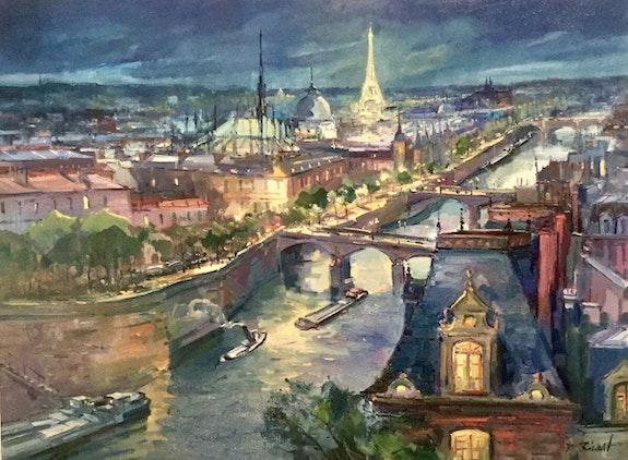 Paris le Pont Neuf la Tour Eiffel et la capitale de nuit. Robert Ricart R Ricart