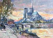 Paris. Notre Dame de Paris et son abside en fin de journée.