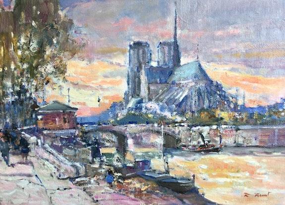 Paris. Notre Dame de Paris et son abside en fin de journée. Robert Ricart R Ricart