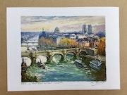Paris. Notre Dame le Pont Neuf au vert Galant.