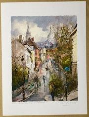 Paris. Montmartre. La rue de l'Abreuvoir et le sacre cœur. R Ricart