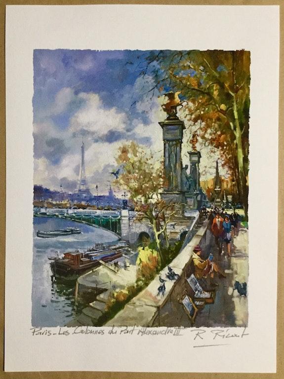 Paris. Les Colonnes du pont Alexandre lll. Robert Ricart R Ricart